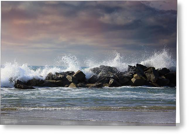 Stormy Ocean Waves, Beautiful Seascape, Big Powerful Tide In Act Greeting Card by Kate Ovcharenko