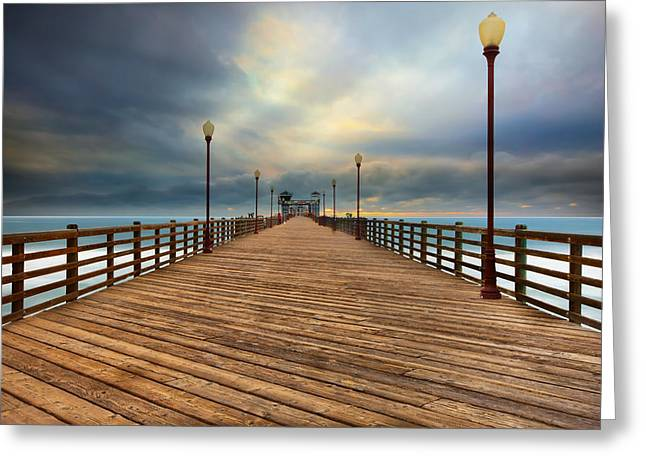 Stormy Oceanside Sunset Greeting Card by Larry Marshall