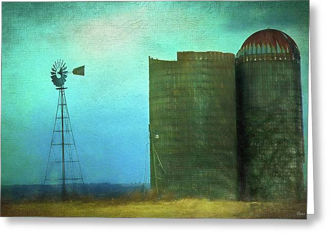 Stormy Old Silos And Windmill Greeting Card