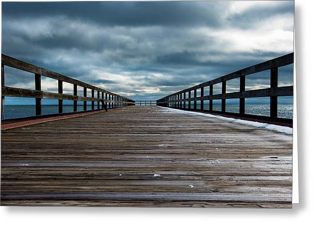 Stormy Pier  Greeting Card