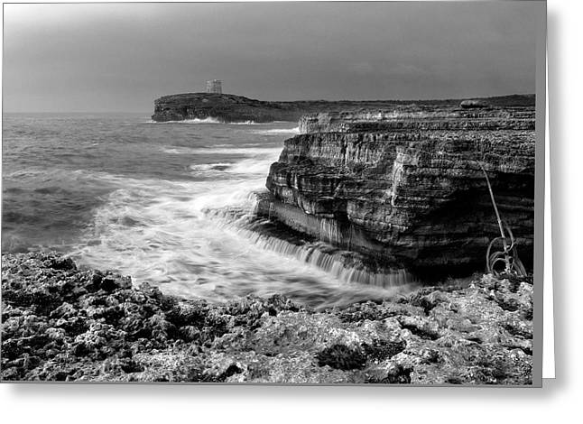 Greeting Card featuring the photograph stormy sea - Slow waves in a rocky coast black and white photo by pedro cardona by Pedro Cardona