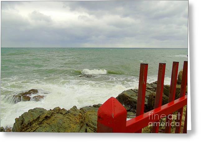 Stormy Sea Stormy Sky Greeting Card