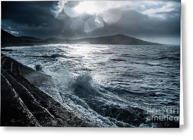 Stormy Seas At Tanybwlch Aberystwyth Greeting Card