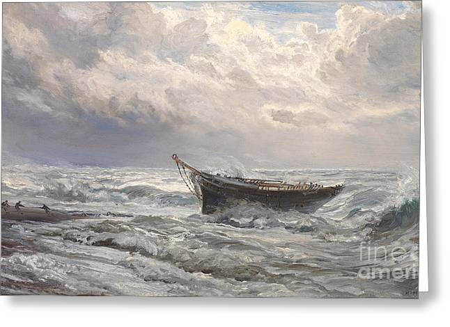 Yachting Greeting Cards - Stormy Seas Greeting Card by Henry Moore