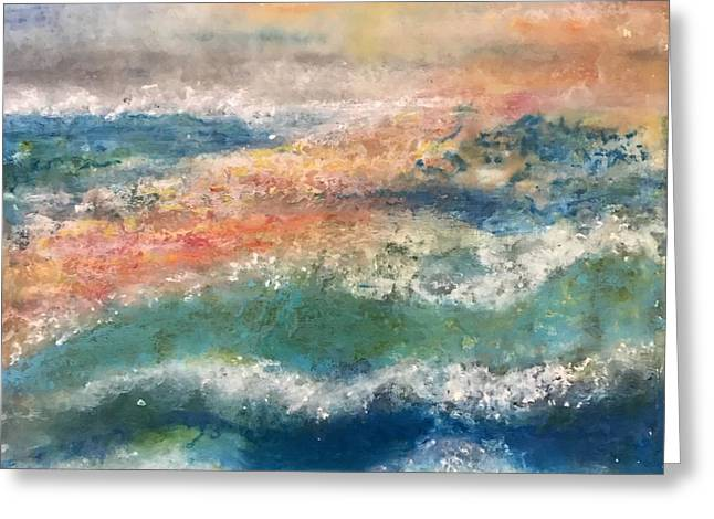 Greeting Card featuring the painting Stormy Seas by Kim Nelson