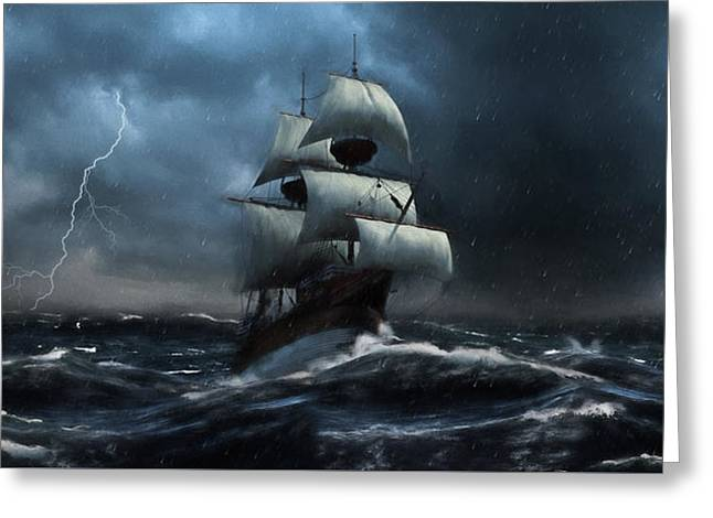 Stormy Seas - Nautical Art Greeting Card