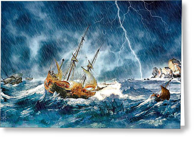 Greeting Card featuring the digital art Stormy Seas by Pennie McCracken