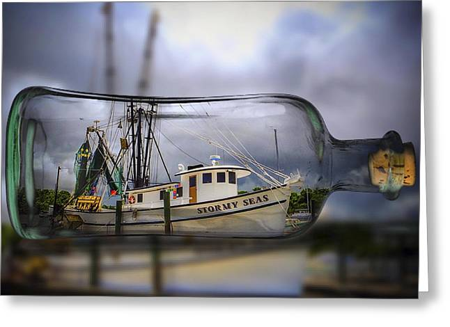 Stormy Seas - Ship In A Bottle Greeting Card