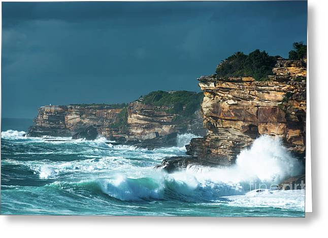 Stormy Seascape Greeting Card by Andrew Michael