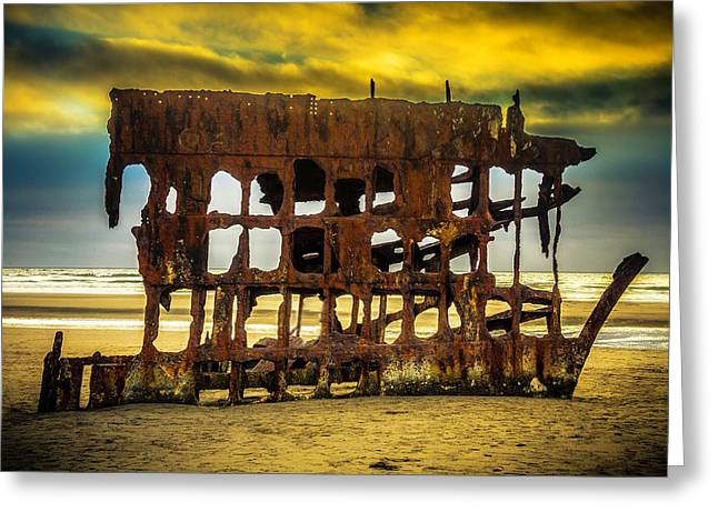 Stormy Shipwreck Greeting Card by Garry Gay