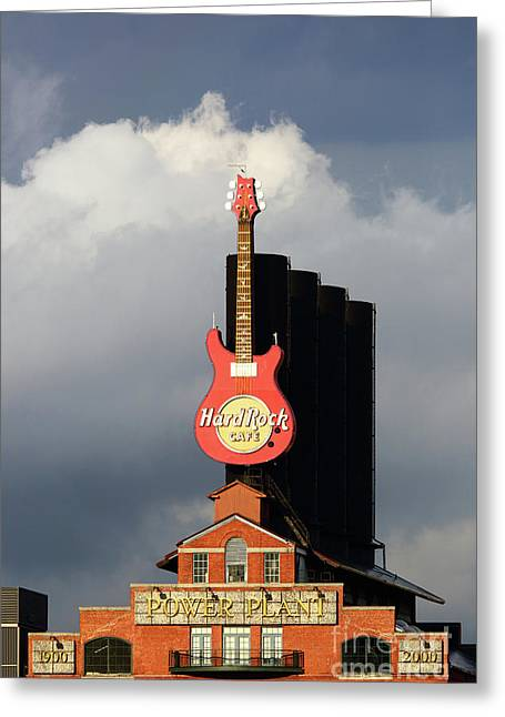 Stormy Skies And Hard Rock Cafe Baltimore Greeting Card