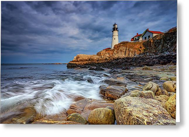 Stormy Skies At Portland Head Greeting Card by Rick Berk