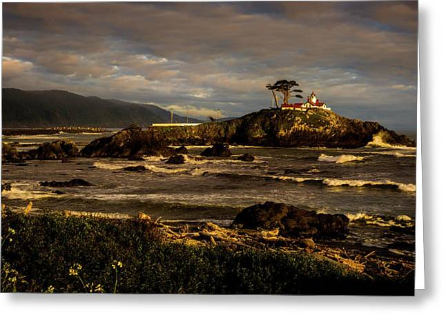 Stormy Skies Over Battery Point Lighthouse Greeting Card by TL Mair