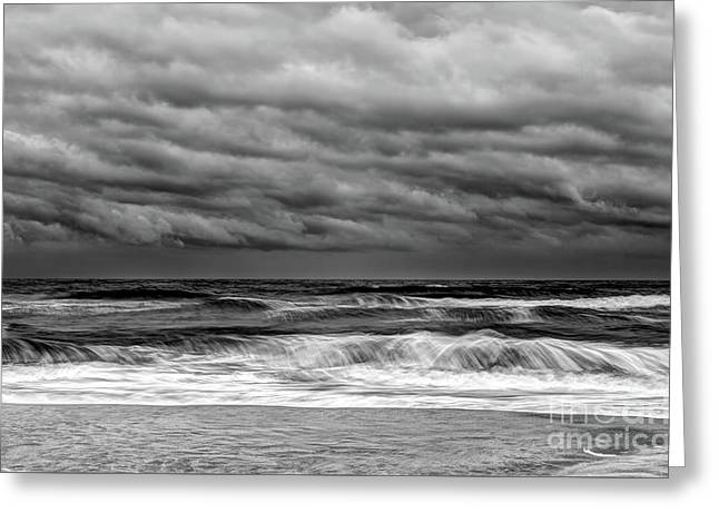 Greeting Card featuring the photograph Stormy Skies Turbulent Ocean Outer Banks Bw by Dan Carmichael