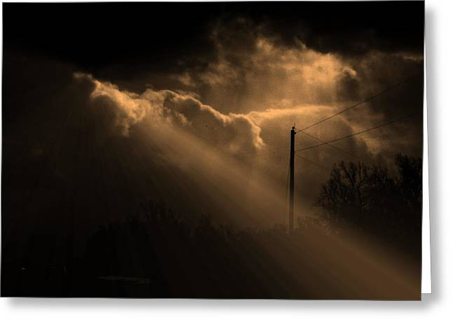 Stormy Sky And Light Greeting Card by Martin Morehead