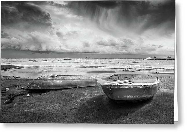 Greeting Card featuring the photograph Stormy Sky Sea And Boats by Michalakis Ppalis