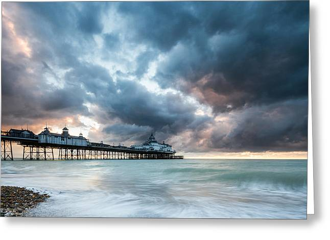 Stormy Sunrise Over Eastbourne Pier Greeting Card