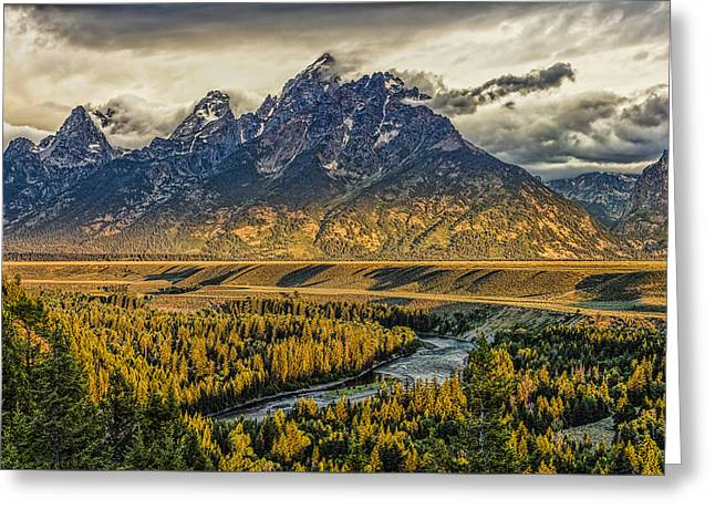 Stormy Sunrise Over The Grand Tetons And Snake River Greeting Card