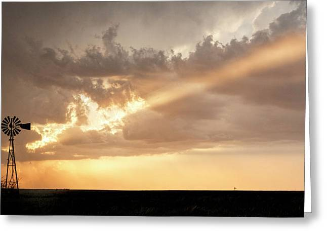 Greeting Card featuring the photograph Stormy Sunset And Windmill 01 by Rob Graham