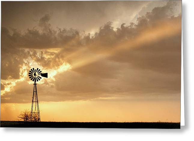 Greeting Card featuring the photograph Stormy Sunset And Windmill 02 by Rob Graham