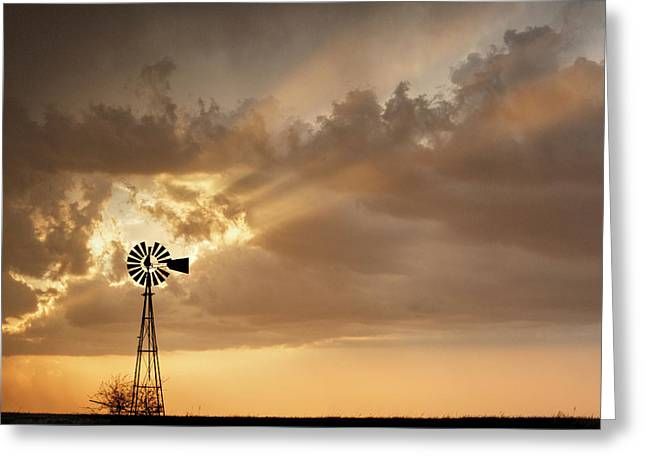 Greeting Card featuring the photograph Stormy Sunset And Windmill 03 by Rob Graham