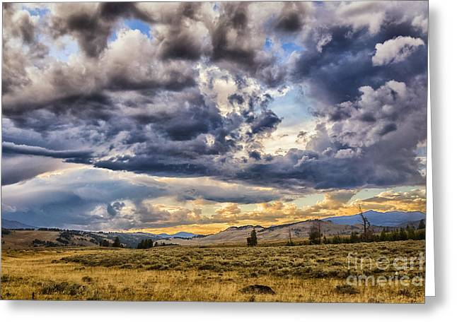 Stormy Sunset At Blacktail Plateau Greeting Card
