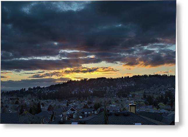 Stormy Sunset Over Happy Valley Oregon Greeting Card by David Gn