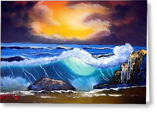 Stormy Sunset Shoreline Greeting Card by Dina Sierra