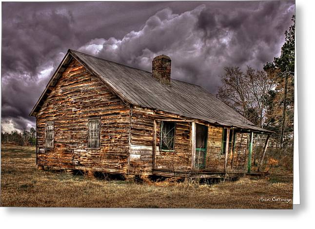 Greeting Card featuring the photograph Stormy Times Tenant House Greene County Georgia Art by Reid Callaway