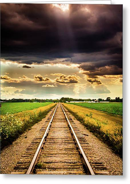 Stormy Tracks Greeting Card