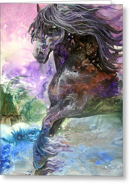 Stormy Wind Horse Greeting Card