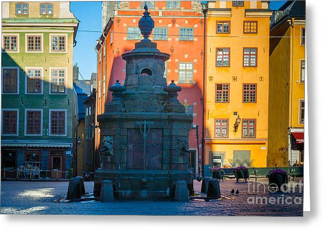 Stortorget Fountain Greeting Card by Inge Johnsson