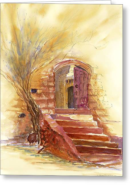 Storybook Stairs Greeting Card by Tara Moorman