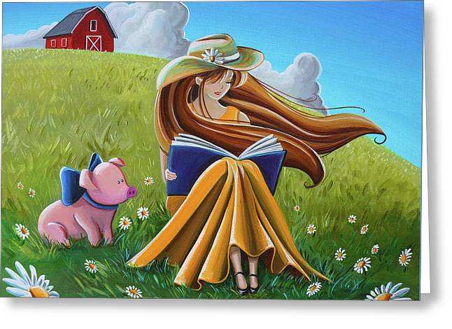 Storytime On The Farm Greeting Card by Cindy Thornton