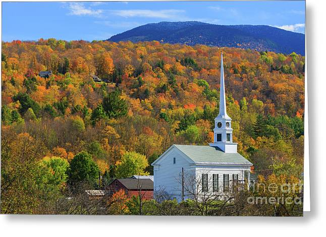 Stowe Community Church, Vermont Greeting Card by Henk Meijer Photography