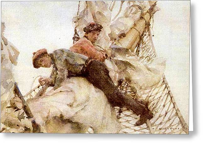 Greeting Card featuring the painting Stowing The Headsails  by Henry Scott Tuke