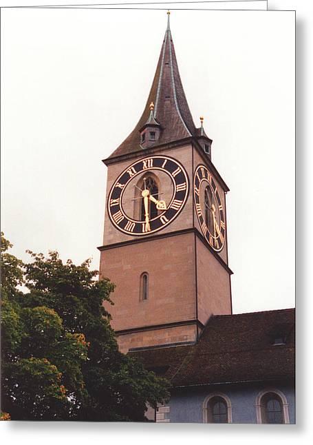 St.peter Church Clock In Zurich Switzerland Greeting Card by Susanne Van Hulst