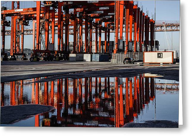 Straddle Carriers Reflecting On Large Puddle II Greeting Card