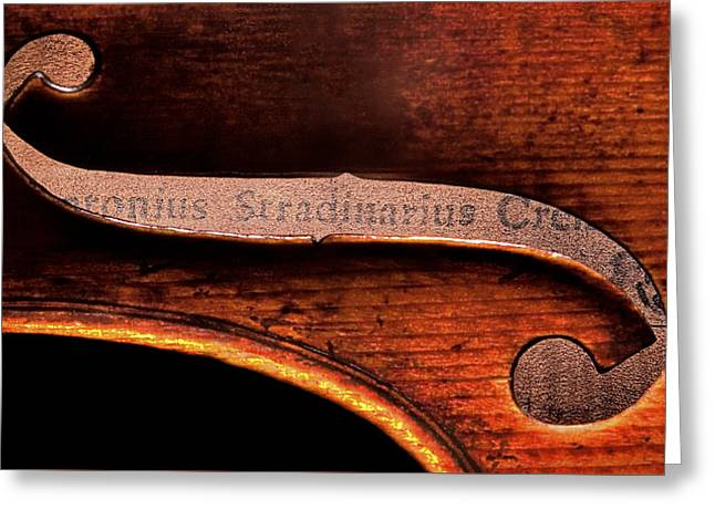Greeting Card featuring the photograph Stradivarius Label by Endre Balogh