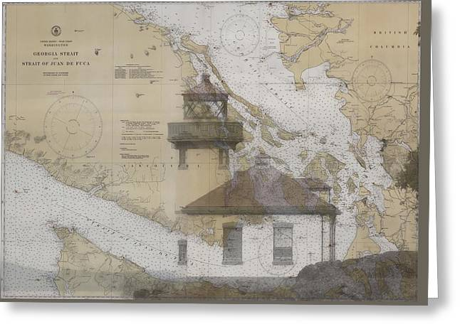 Strait Of Juan De Fuca Nautical Chart Lighthouse Greeting Card by Dan Sproul