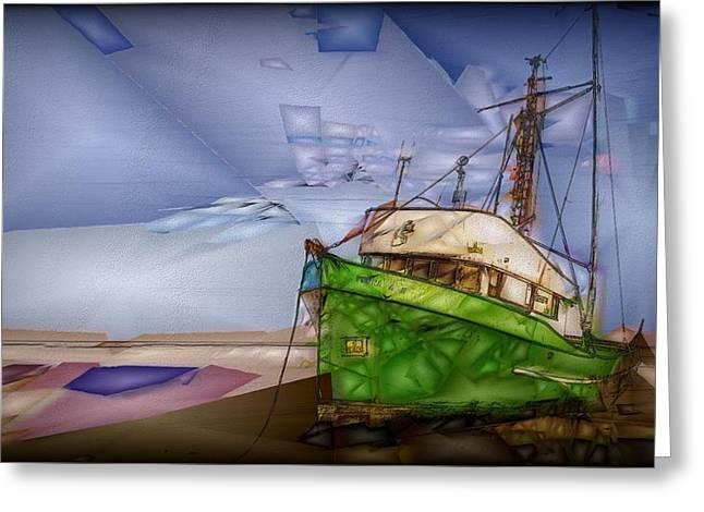 Stranded Boat Greeting Card