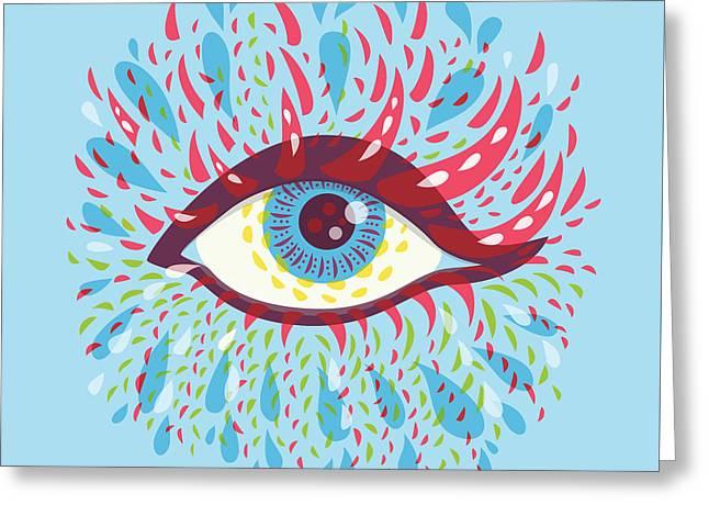 Strange Blue Psychedelic Eye Greeting Card by Boriana Giormova