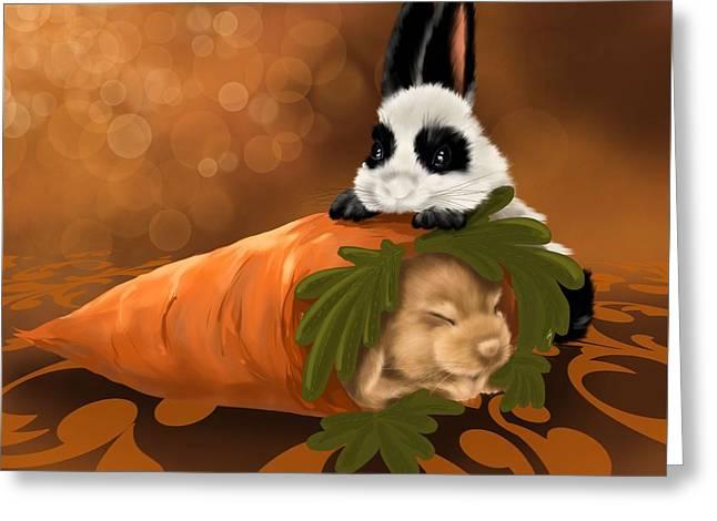 Strange Carrot Greeting Card by Veronica Minozzi