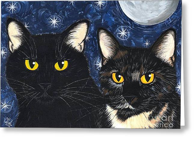 Strangeling's Felines - Black Cat Tortie Cat Greeting Card by Carrie Hawks