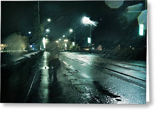 Stranger In The Night Greeting Card by Jenny Rainbow