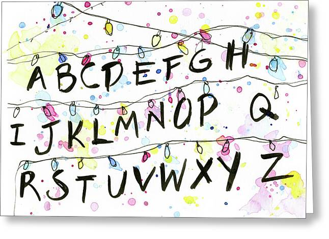 Stranger Things Alphabet Christmas Lights Greeting Card by Olga Shvartsur