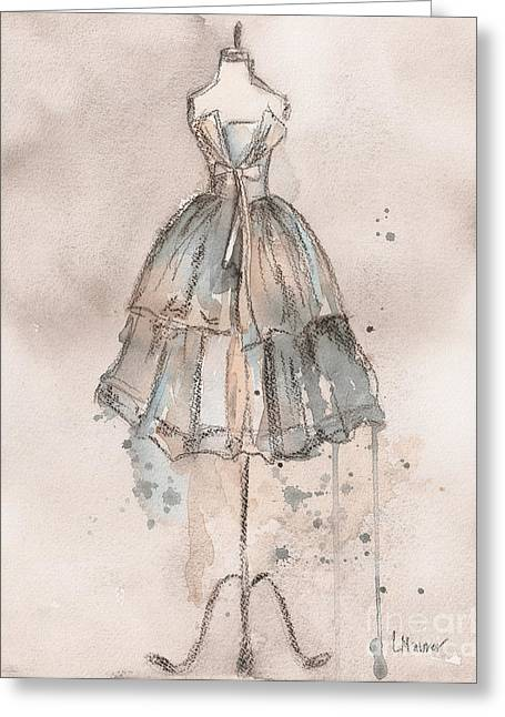 Charcoal Paintings Greeting Cards - Strapless Champagne Dress Greeting Card by Lauren Maurer