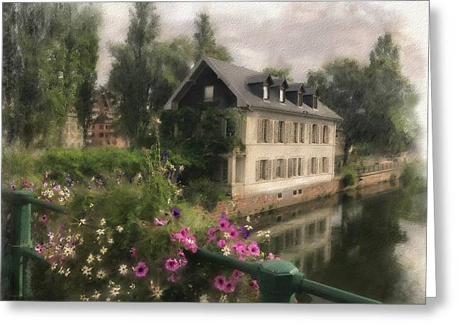 Greeting Card featuring the digital art Strasbourg Bridge by Gina Harrison