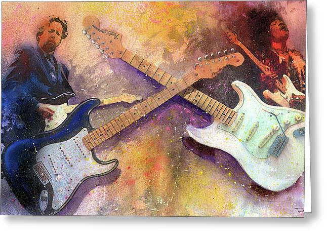 Musicians Paintings Greeting Cards - Strat Brothers Greeting Card by Andrew King
