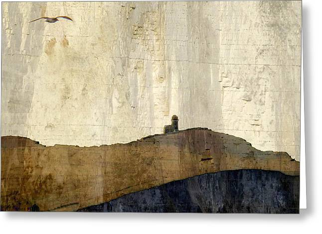 Strata With Lighthouse And Gull Greeting Card